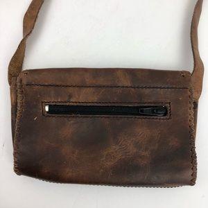 Vintage Bags - VINTAGE Leather Tooled Handmade Boho Crossbody Bag